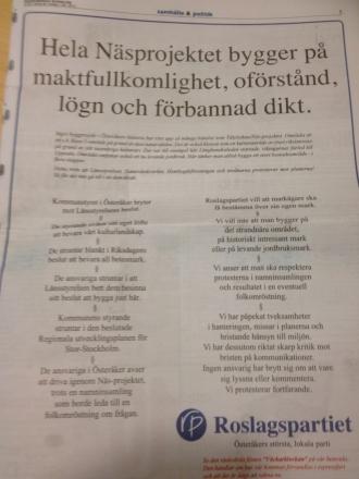 Roslagspartiets annons Kanalen v 40-2013